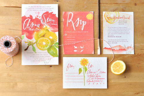 Beautiful watercolour wedding invitation by Julie Song!
