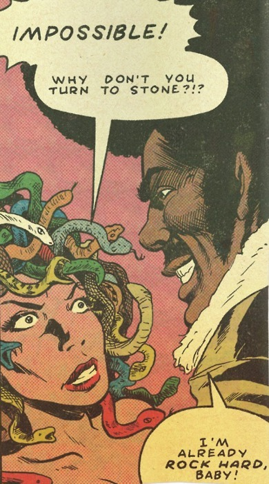 This is from Jim Rugg's Afrodisiac, a top notch blaxploitation comic. Not only does blaxploitation get parodied (lovingly), but so do comics. Afrodisiac goes through a number of revisions/revamps before the end of the book. Get more info here. Jim is on Tumblr, by the way, and he does ridiculous shit with ballpoint pens.LOOK!