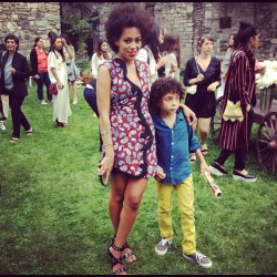Wearing spring Stella, @SolangeKnowles and her son arrive to the @StellaMcCartney #resort13 presentation for some carnival fun. (Taken with Instagram)