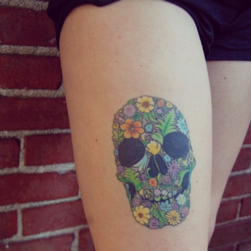 fuckyeahtattoos:  mike muldowney, Lancaster PA my skull made of flowers hand drawn for me.im in love with it.no special meaning it's just beautiful.