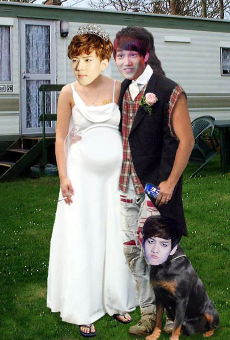 Kai and Sehun's shotgun wedding. Can't forget about their trusty squirrel huntin' dog, Bacon!