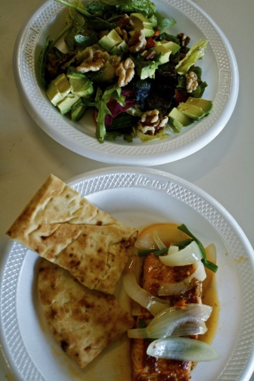 Work & Insanity!  Healthy dinner consists of a side salad, salmon, and & Naan bread! <3D