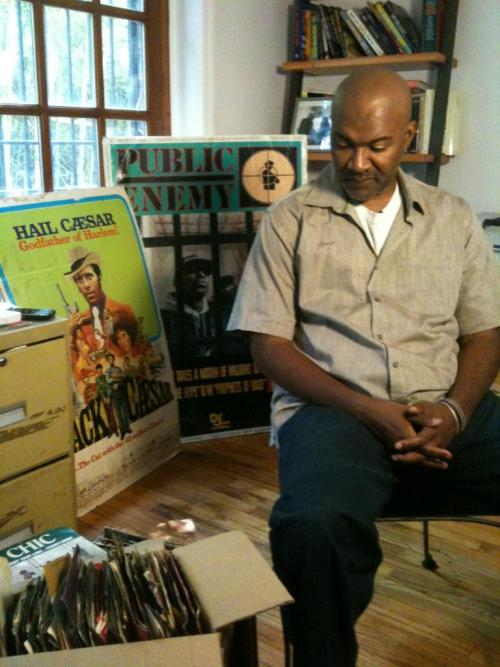 A man and his vinyl. I used to have thousands of albums and 45s. Down to a precious few now, but they are all gems.