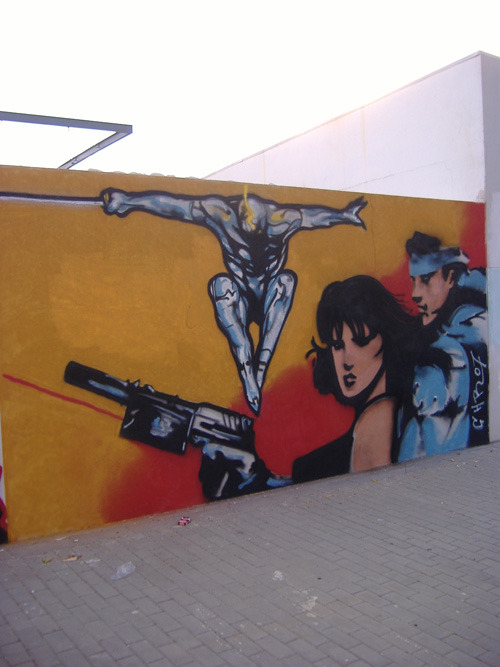 Daily Graffiti: Metal Gear Solid graffiti featuring Solid Snake, Meryl, and Cyborg Ninja by CHR85. Check out the DAILY GRAFFITI ARCHIVES for more geektastic street art!