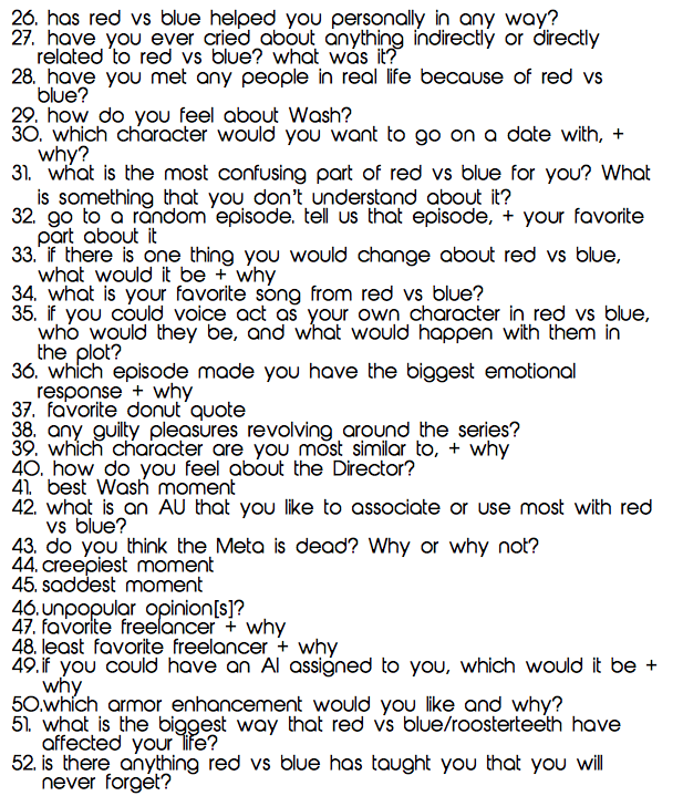 "redvsbluequotes:  The Character Quiz is here. Use these for people to put #s in your ask, answer them all at once, or do a 52 day challenge to them. Tag your answers with ""redvsbluequotes"" so I can see how red vs blue has inspired you!  Have fun! -alex"