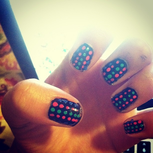 #nails #polkadots #neon (Taken with Instagram)