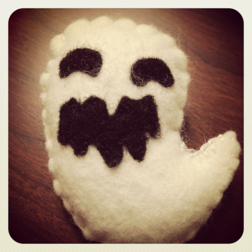 "Made a little ghost named ""Bukimi"". These little guys will be available in the shop soon!"