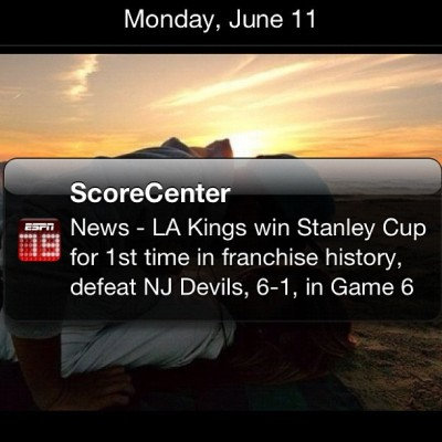 "KINGS WIN! KINGS WIN! Those are my boys! First time ever in history. F**K all you ""fans"" that barely started liking them! My Kings > Over your hockey team! 6-1 <33333 🏆🏆😍😘❤ #happy #black and #silver in my blood! #LA #Kings  (Taken with Instagram)"