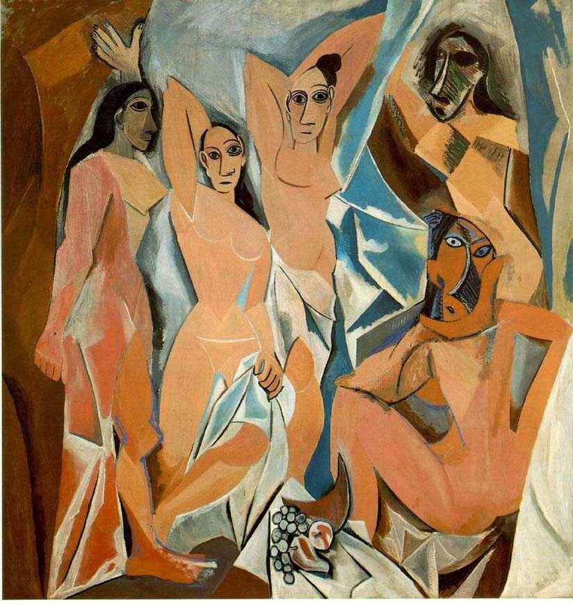 Pablo Picasso, Les Demoiselles d'Avignon, oil on canvas, 1907   ***Les Demoiselles is a pre-cubist painting that shocked the world!