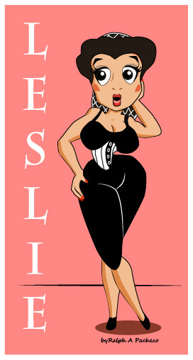 My first pinup girl ever. I did her in a retro cartoon style. Kind of reminds me of Betty Boop  a little. A full figured girl. Not bad for a first try, and it was of a real person I know.