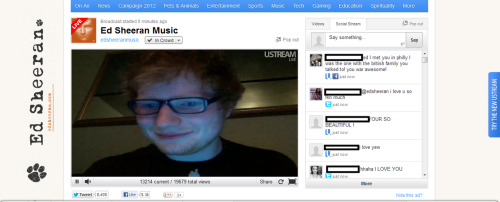 Watching Ed Sheeran on USTREAM singing The A-Team. MY LIFE IS FUCKING COMPLETE.