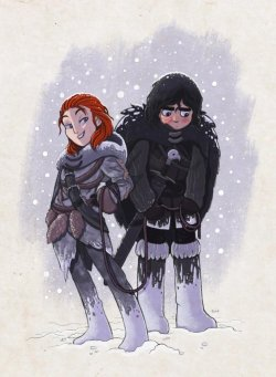 fairlywiggly:  Ygritte and Jon Snow - by Alon Boroda {source}