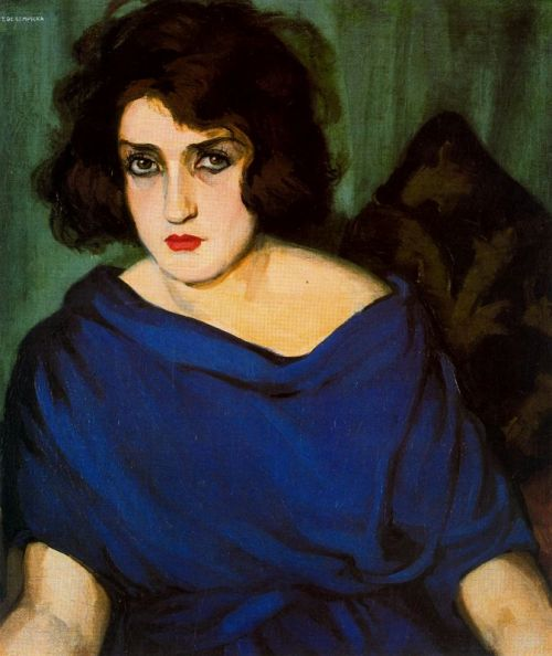 Portrait of a Young Lady in a Blue Dress, Tamara de Lempicka