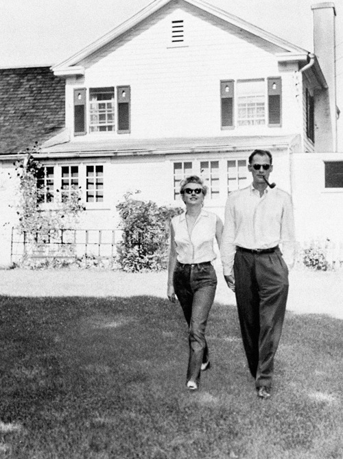 Marilyn Monroe & Arthur Miller, outside Miller's house, 1956.