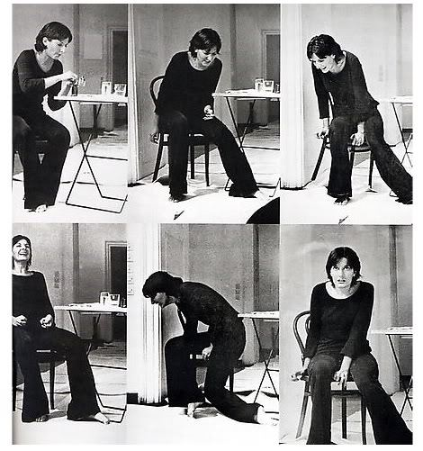 adrowningwoman:  Marina Abramović - Rhythm 2  As an experiment testing whether a state of unconsciousness could be incorporated into a performance, Abramović devised a performance in two parts.In the first part, she took a pill prescribed for catatonia, a condition in which a person's muscles are immobilized and remain in a single position for hours at a time. Being completely healthy, Abramović's body reacted violently to the drug, experiencing seizures and uncontrollable movements for the first half of the performance. While lacking any control over her body movements, her mind was lucid, and she observed what was occurring.Ten minutes after the effects of that drug had worn off, Abramović ingested another pill—this time one prescribed for aggressive and depressed people—which resulted in general immobility. Bodily she was present, yet mentally she was completely removed. (In fact, she has no memory of the lapsed time.) This project was an early component of her explorations of the connections between body and mind, which later took her to Tibet and the Australian desert Following Rhythm 2, she set to develop the rest of the series of rhythm projects, continually testing her endurance.