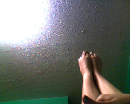 These are my feet. I like my feet. I think they're nice, and they're very functional. I don't have pants on… I'm wearing my favorite underwear: light blue with a little lace and cute cartoon penguins! And a pretty pink bow in the front. Mufasa likes them too… I have a bra that matches them, too. Let's see if Mufasa gets angry at me for posting a picture without his consent… :P -Kitten By the way, this is our fifty follower milestone post. I hope you guys enjoy it. The more followers we get, the more you'll see. And maybe I'll actually be in the next one. Kitten's gonna get a spanking for this. -Mufasa :) I'll prepare myself, darling. -Kitten