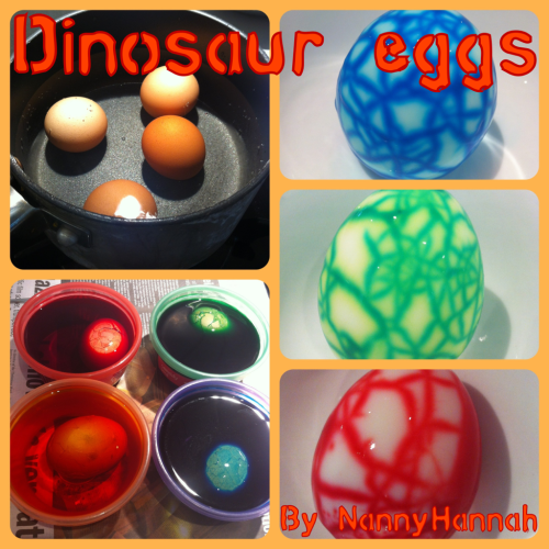 DINOSAUR EGGS!  Only got eggs left in the panty? Kids begging you for something special for lunch? Why not give these a crack (pun totally intended)  What you need- Fresh eggs Saucepan  Water Food colour Multiple bowls  Method- Bring water to the boil in the saucepan Place eggs gently into the water & cook until hard boiled  While eggs are cooking place 3-4 drops of colour into your little bowls, top with water (enough to cover 1 egg)  Once eggs are cooked, immediately tap with a knife/spoon so that cracks appear in the shell (don't crack too much, you want the shell to stay intact) Place cracked eggs into the food colouring, allow to sit for 15-20 minutes Run eggs under cold water to get rid of any excess dye. Peels eggs & enjoy!  Tips- For an exciting breaky, prepare eggs the night before and leave in the dye mix over night.  Experiment with multicoloured eggs, dip the top in red and the bottom in blue!  The more cracks you make, the more coloured the egg will be. Remember to leave some shell uncracked so you can see the pattern!
