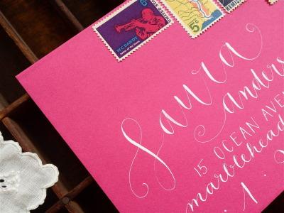 #calligraphy, #lettering, #envelope, #vintage_stamps, #pink, #addressing, #weddings