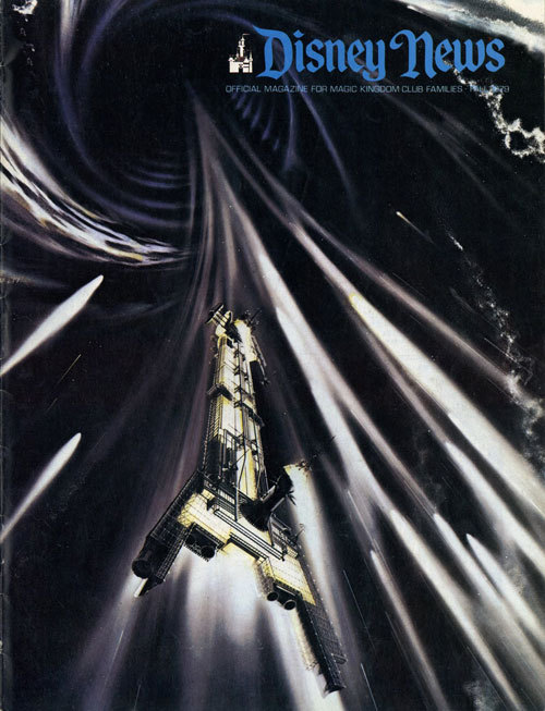 shrapnel:  The Black Hole promotional art on the cover of Disney News (via Space:1970)