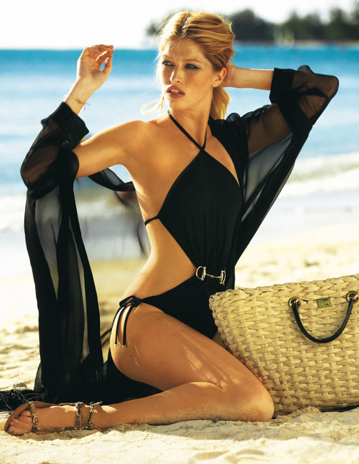 A Gucci black swimsuit look… a prudent seaside holiday must have.