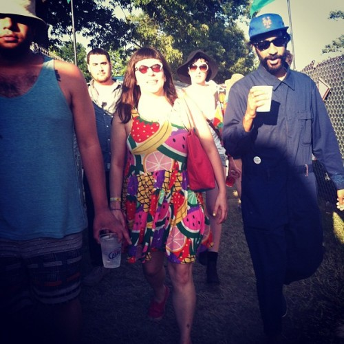 "Bonnaroo posse, photo by Ysa Perez. I just want to point out that the button on Dap's hip reads ""Jesse Jackson '88."" He lost it shortly after this pic was taken."