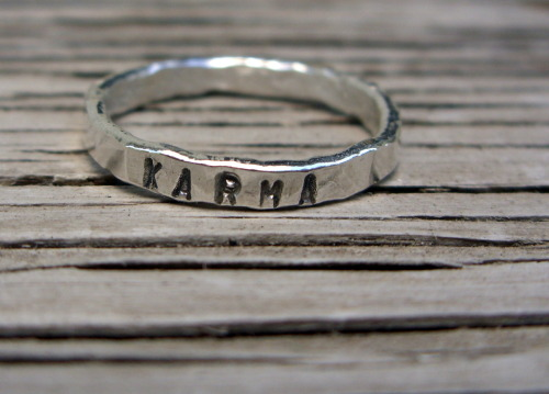 This ring KARMA was really fun to do! I would love to have tons of inspirational words/sayings made and ready to roll, but there are too many size variables with rings. What fun I have— thinking of little phrases/sayings and words to stamp on stuff!
