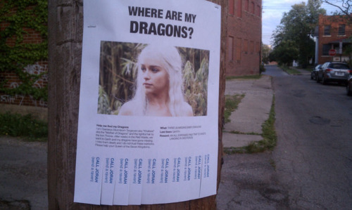 fuckyeahdementia:  Lost dragons. Last seen: Qarth.