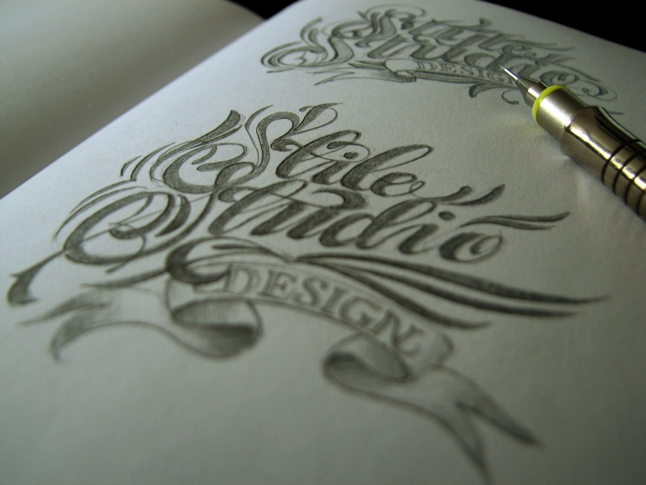 Calligraphi.ca - Stile Studio logo sketch - pencil on paper - Theosone
