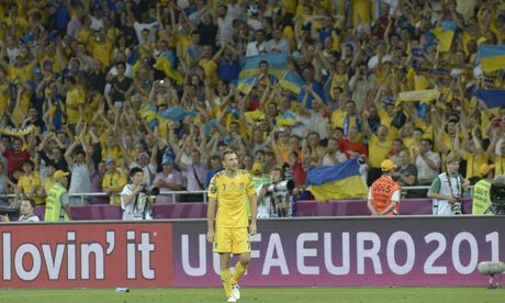 theworldsgame:  Ukraine 2-1 Sweden What do you say about Andriy Shevchenko after a performance like this, in his home country, in what's almost certainly his last international tournament? I mean, there was a possibility he wouldn't be in the starting XI and here he comes, scoring two goals and besting his opposite captain and fellow striker Zlatan Ibrahimovic, who was really no slouch himself for the Swedes.  Zlatan opened the scoring in the second half, but then Sheva unleashed two fabulous headers to the delirium of the crowd. Sweden blew late chances — particularly the 90th minute chance by Johan Elmander, and while one can say they did not deserve to lose, as a team, they did not play well enough to deserve a point over Sheva's brilliance, which probably gobsmacked fans who remember his last prominent gig as the biggest flop at Chelsea pre-Fernando Torres (still pending, of course), but this was vintage AC Milan Sheva here. If the 35-year old striker can keep turning back the years against the English and French, Group D could go much, much differently than anyone expected.