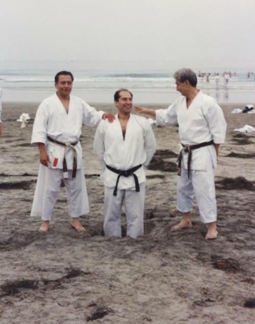 From left to right: Hanshi M.A. Sharifi, Sensei Michael Tabassi, and Master Hidetaka Nishiyama. Sensei Tabassi first started training karate in Iran with Hanshi Sharifi (who is my sensei). Both my sensei and Sensei Tabassi earned their 7th dans from Master Nishiyama (may he rest in peace).