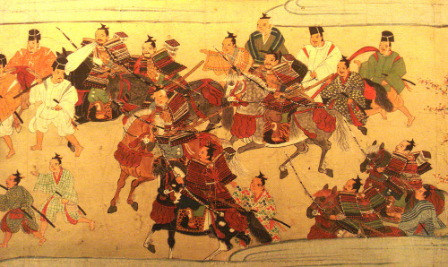 ancientart:  Ancient Japanese painting showing Muromachi Samurai in battle
