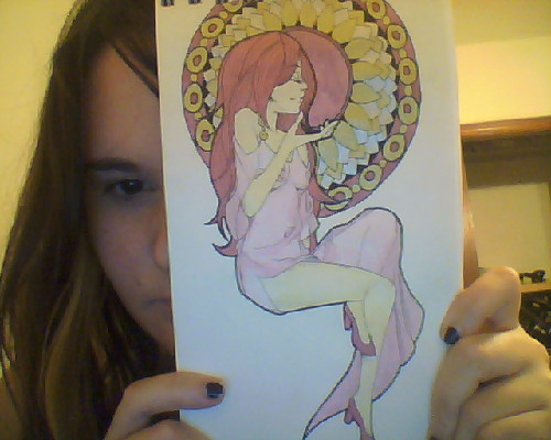 I wish I had a scanner. D: Mucha inspired drawing done with ink, watercolor, gold and silver gel pen, and 4H pencil.
