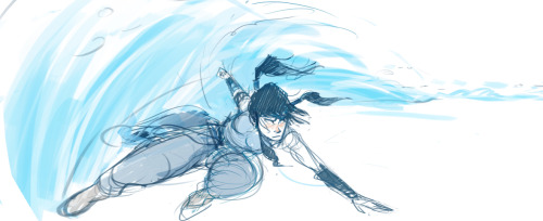 lisavillella:  june. a sketch of korra based on a pose from psycho azula's repertoire. you get it, korra. bend that water.