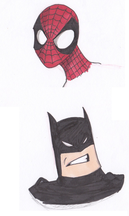 Spidey and Batman. I don't draw Batman all that often, because I'm not really a fan. But when I do draw him? Gotta go the big chin drawing of him.