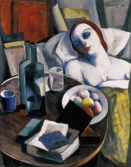 poboh:  Model in an interior with still life, Armand Schönberger. Hungarian (1885 - 1974)