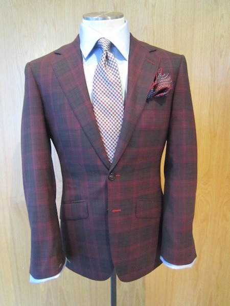 Modern Maroon Watch Summer Jacket Bespoke for T. N. – Maroon Blackwatch in Lightweight Zegna Trefeo 600 jacketing cloth; this cloth feels like you have nothing on its truly a brilliant fabric.  The pattern is one of a kind.