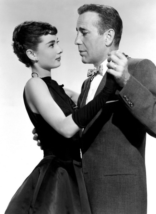 theniftyfifties:  Audrey Hepburn and Humphrey Bogart for 'Sabrina', 1954.
