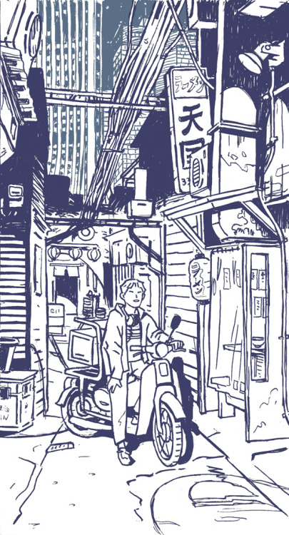 Ramen Delivery Boy A sketch for a coming linocut.The final print will feature 7 different color layers.Part of a serie about Tokyo youth.This one takes place on an imaginary back street near Shinjuku station.