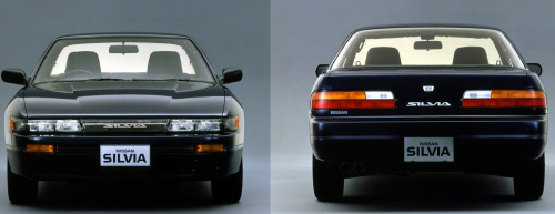 "240posse:  Nissan Silvia (S13) Launched in May 1988, the S13 model appealed to many motor sports fans who wanted to experience the joy of driving an FR car. Young people in particular went for its beautiful, flowing bodylines, its stable, low-set styling, and its spirited attitude. The S13 was regarded as a high-quality product, and in 1988 it received the Good Design Award by the Ministry of International Trade and Industry. The natural lines and curved surfaces of the streamlined styling set the S13 apart. From  dashboard to door trim and center console, it featured a unified design which gave this car an unmistakable look of a specialty coupe.  S13 Silvia Interior The S13 was based on the first generation A31 Cefiro. Industry trends would make it that the S13 switch to relampable fixed headlights with projector optics as an offered option. It was available in three trim levels: J's (base model), Q's, and K's. The names of the three models were derived from the three court cards (King, Queen, and Jack). The Q's trim offered a slightly more refined experience compared to the J's with electronic options and an LSD. The K's trim received the turbocharged CA18DET or SR20DET (1991). All K club selections came with projector lamps, a rear spoiler, and 15"" wheels along with options from the Q's model. In addition, 1992 marked the year for a new trim, the Silvia A's ""Almighty"". It was a cross between the J's and Q's, offering options not available on J's, but not including all standard features of the Q's. Only available engine was a naturally aspirated SR20DE with a 4-speed automatic transmission.   (Left) Silvia Q's. (Right) Silvia K's. S13 Silvia's were initially powered by the CA18DE and CA18DET from the end of S12 productions with an added intercooler to the CA18DET for an increase in stability and power. In mid 1990, (for the 1991 model year) the SR20DE and SR20DET engines made their show, offering improvements across the board in power and torque due to increased displacement and a more efficient turbocharger.  CA18"