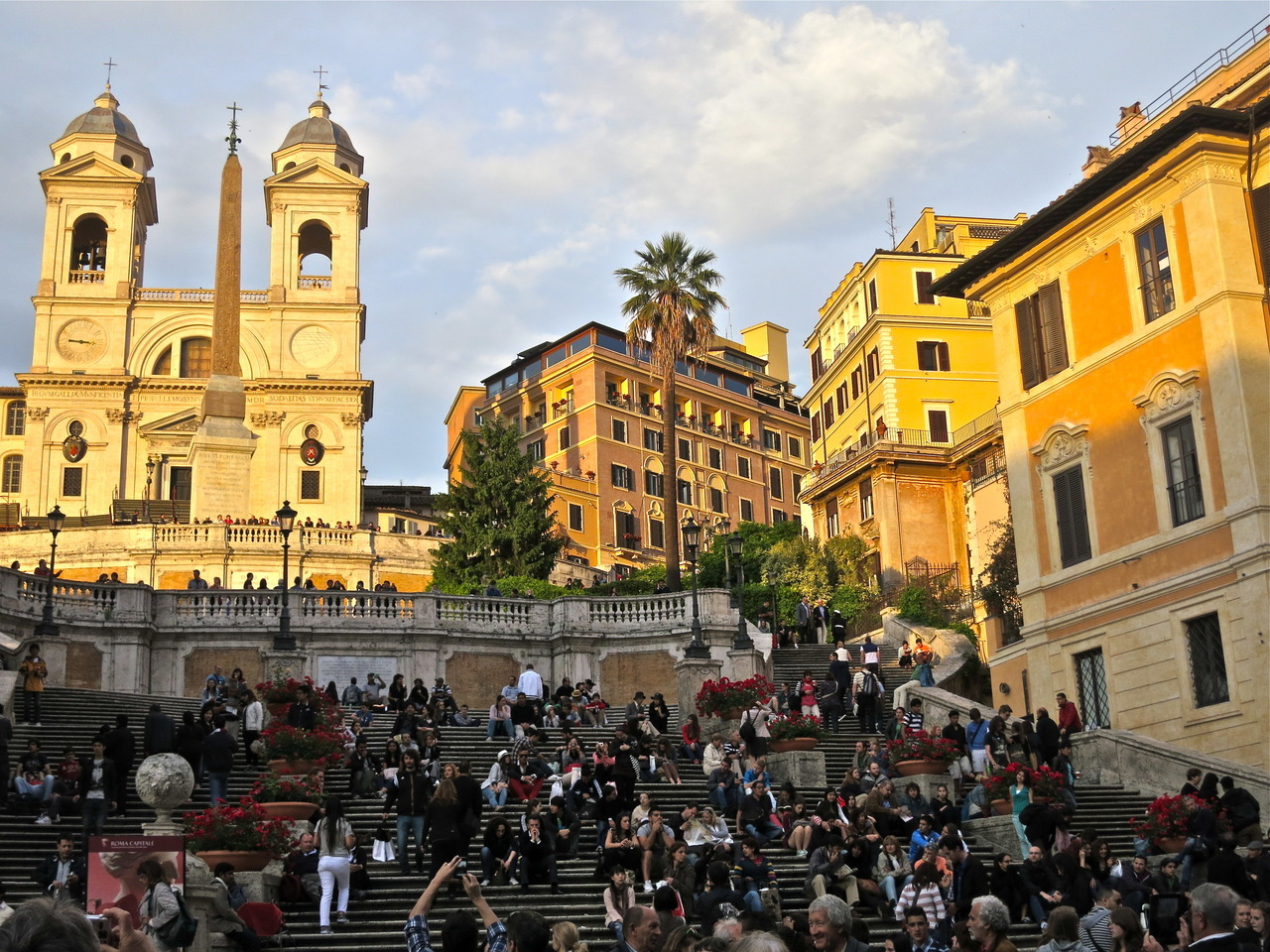 The Spanish Steps, illuminated by the setting sun.  Photo taken by me last week.