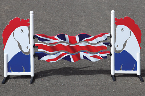 The Union Jack on horse jumps.