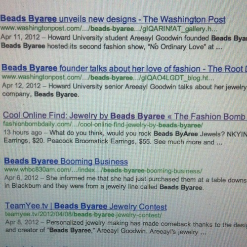 beadsbyaree:  Had my morning scream at 4am! We're on @fashionbombdaily !! 😍😍 Thank you for the post Claire!! #hugefashionbombsupporter (Taken with Instagram)  Congrats to you! Fellow Bison doing big things!!!