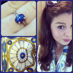 GPOY - Favorite ring - star sapphire from my Mom, DAR scarf, and my hair being impossible, thanks humidity!