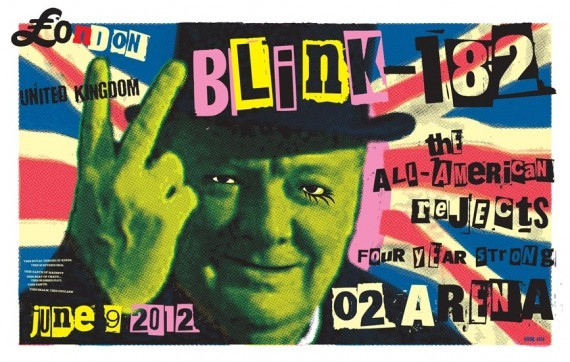 FRANK KOZIK – BLINK-182 LONDON 2012 CONCERT POSTER