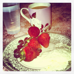 meal #1 of the day!! egg whites, berries, coffee, WATER!