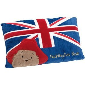 The Union Jack on a Paddington Bear cushion.