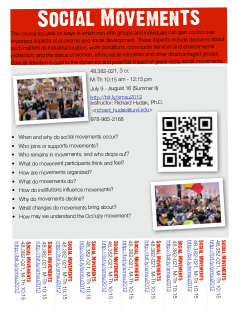 My social movements course is looking for a few good students. This course focuses on ways in which non-elite groups and individuals can gain control over important aspects of economic and social development. These aspects include decisions about such matters as industrial location, work conditions, community services and environmental protection; and the status of women, ethnic/racial minorities and other disadvantaged groups. Special attention is paid to the dynamics and potential impact of grass-roots social movements. (via Social Movements)