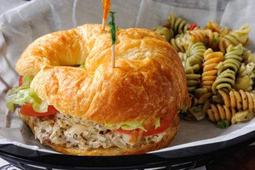 in-my-mouth:  Chicken Salad Croissant Sandwich and Pasta Salad