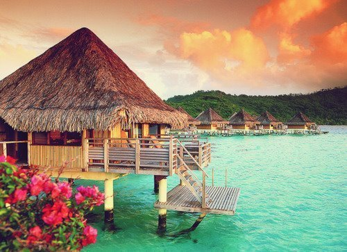 Flowers, huts, turquoise sea and a golden sky