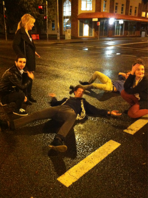here are my mates lying on the road after a casual Tuesday night at the Kent